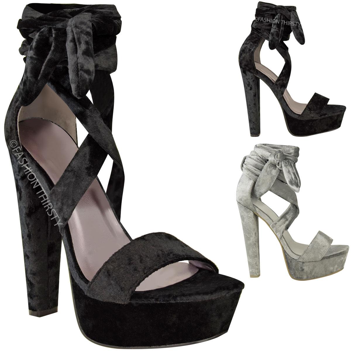 Womens ladies velvet tie lace up ankle high heels block platforms