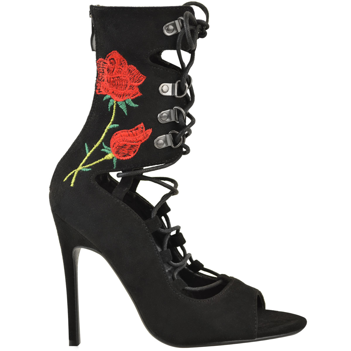 Womens Ladies Lace Up Stilettos Floral High Heels Ankle Boots Gladiator Shoes
