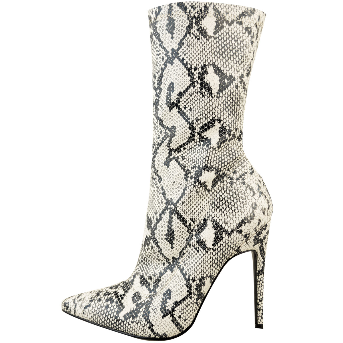 Womens Ladies Leopard Print Ankle Boots Stiletto High Heels Stretch Shoes Size