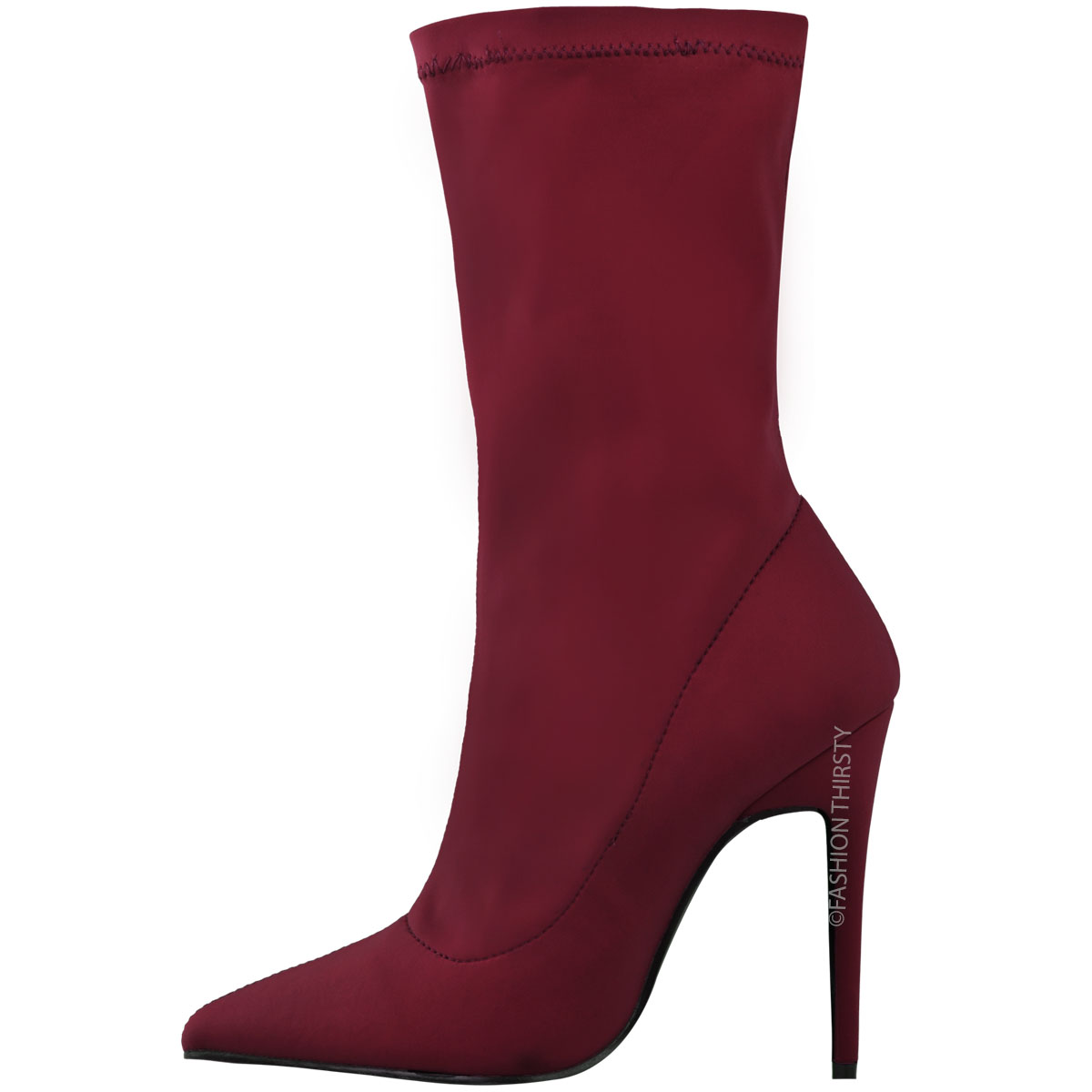 Womens Ladies Ankle Boots Stretch Lycra Stiletto High ...