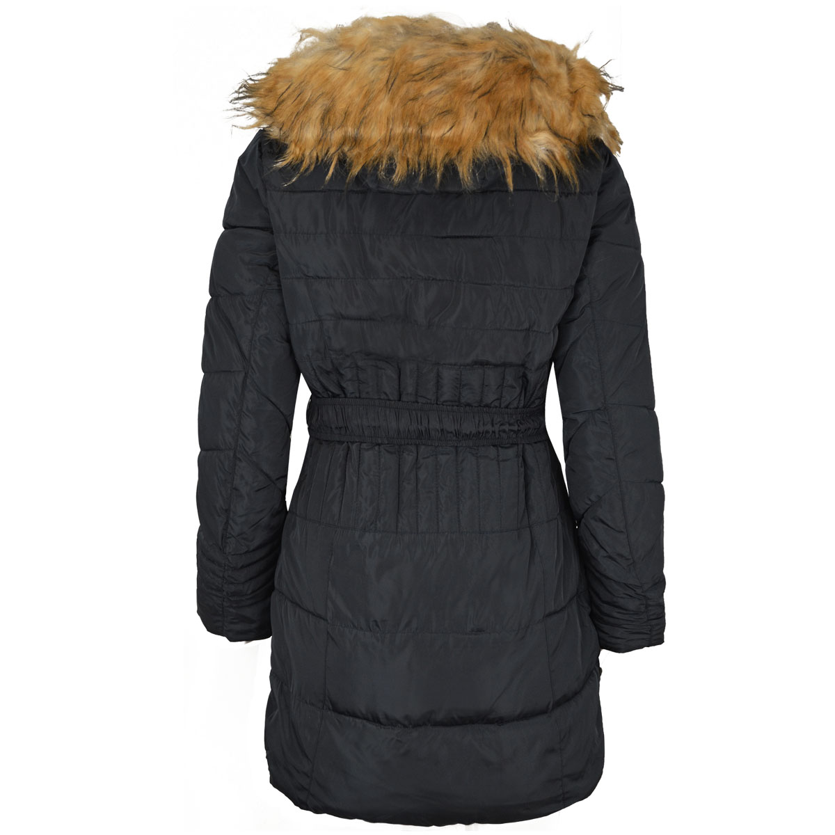 Womens Ladies Winter Coat Warm Padded Quilted Fur Hood Thick Jacket Belted Size
