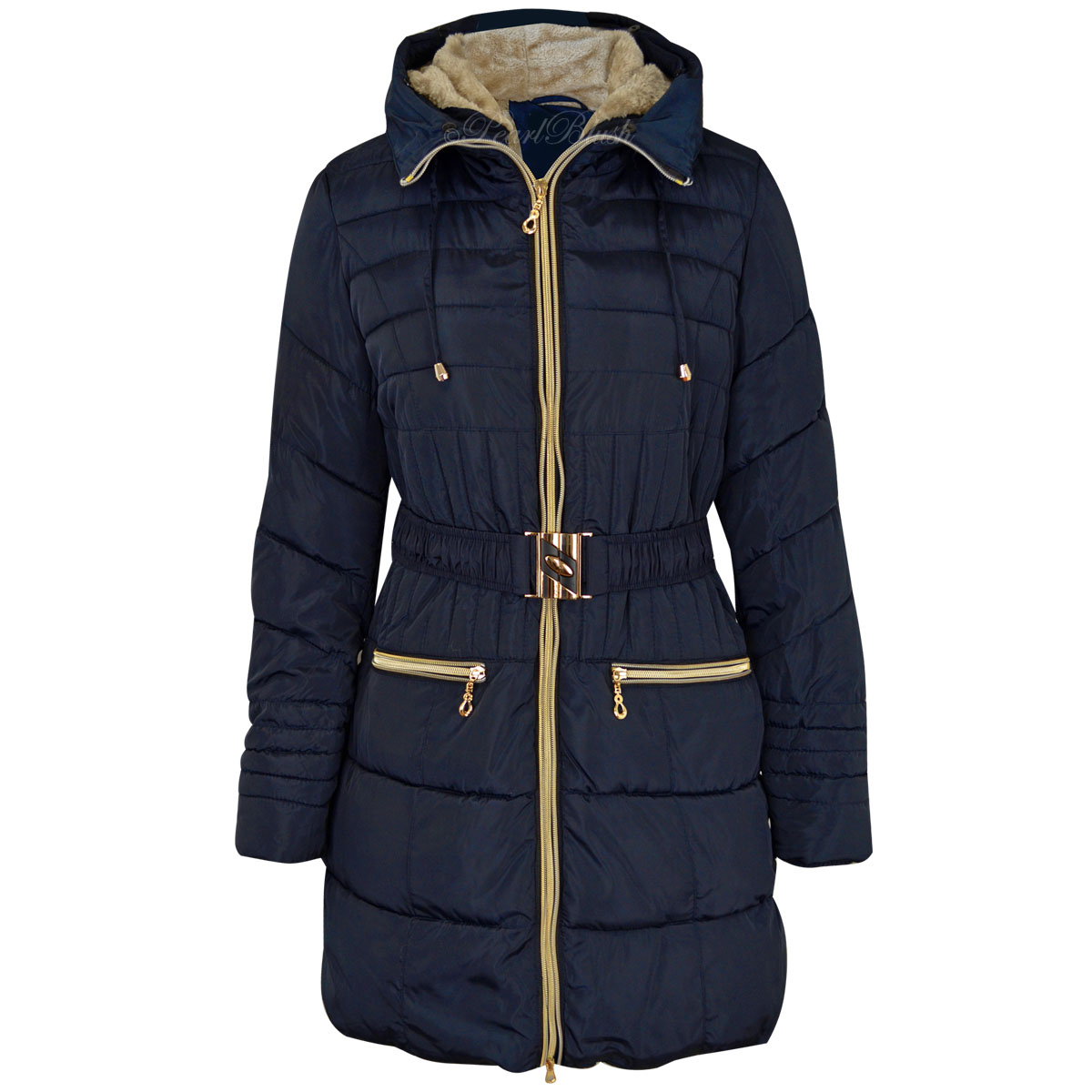 New Womens Ladies Fur Trimmed Hooded Padded Puffer Parka