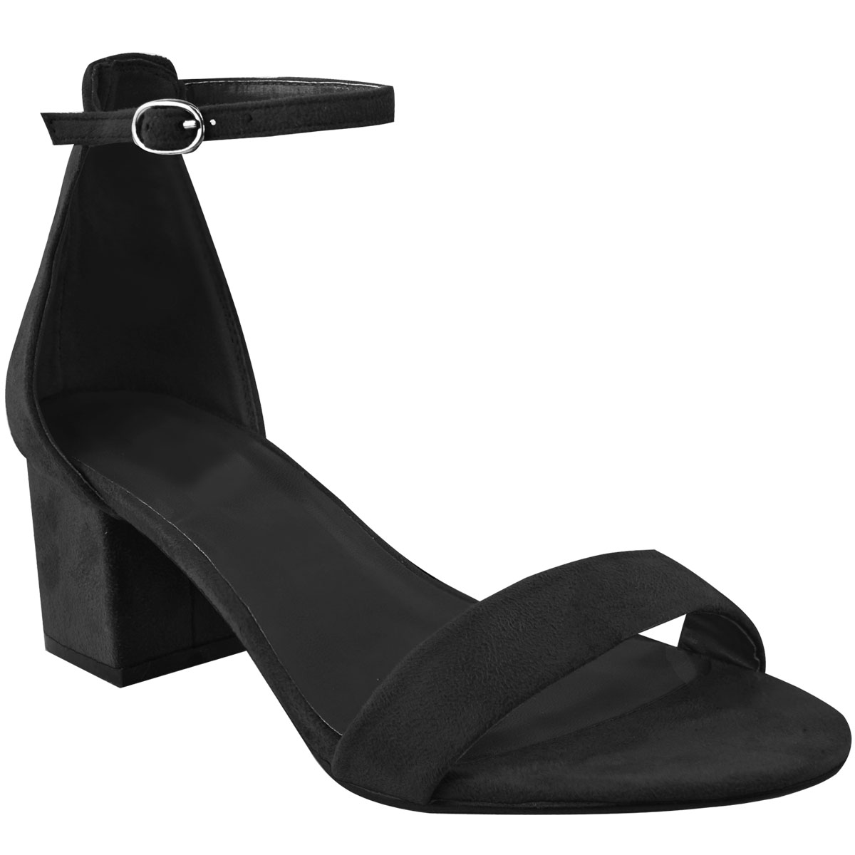 Womens-Ladies-Low-Block-Heel-Black-Sandals-Ankle-Strap-Work-Smart-Shoes-Size