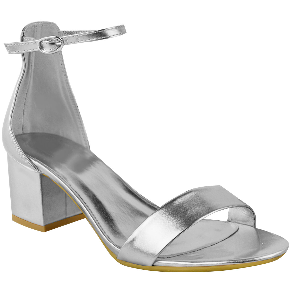 Details about New Womens Ladies Silver Low Block Heel Wedding Sandals Bridal Prom Shoes Size