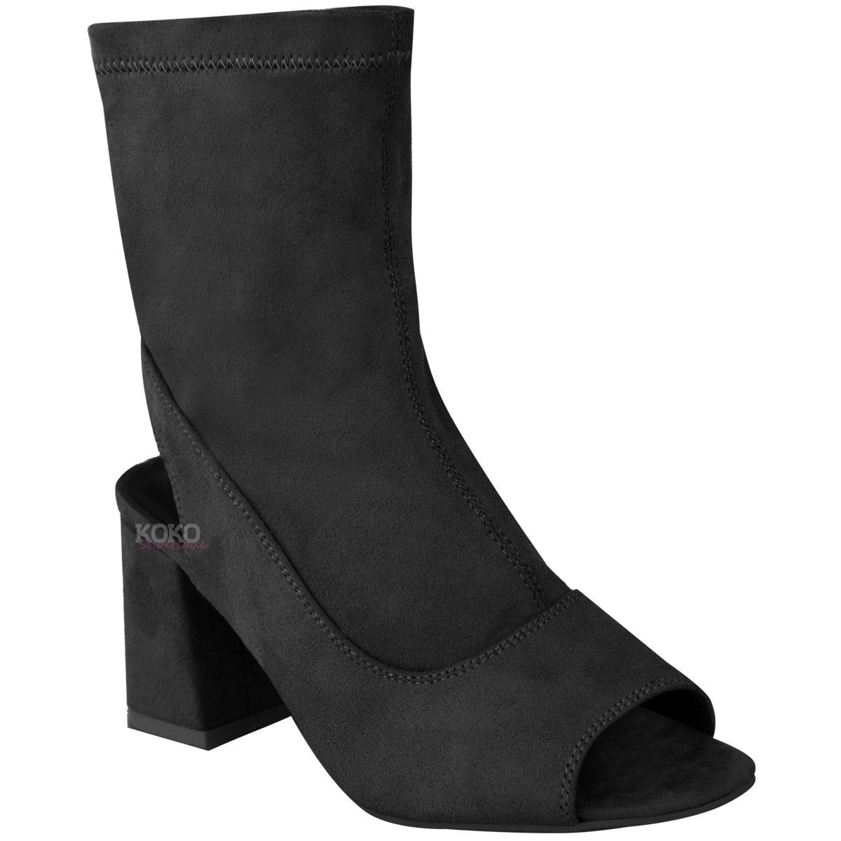 New Womens Ladies Mid Low Block Heel Ankle Boots Peep Toe Open ...