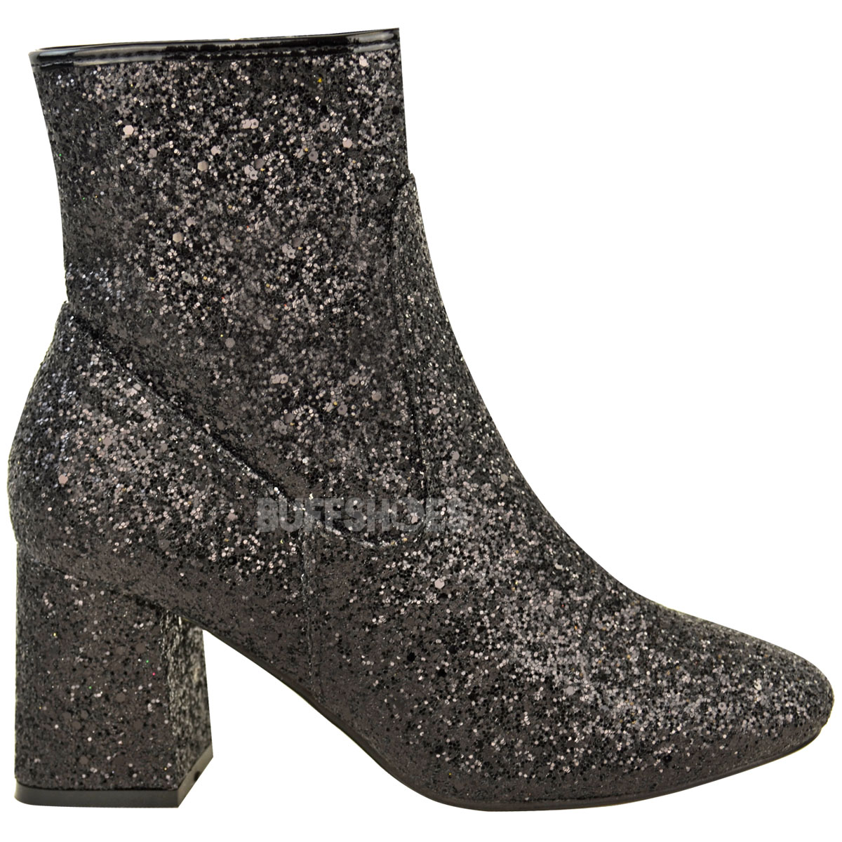 Womens Ladies Glitter Chunky Block Low Heel Ankle Boots Chelsea ...