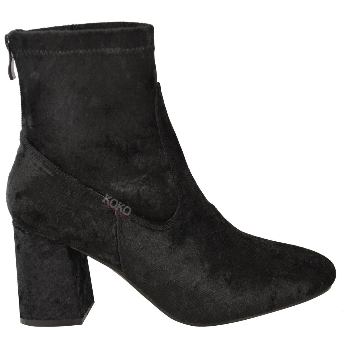 Womens Ladies Chunky Chelsea Block Low Heel Ankle Boots Velvet ...