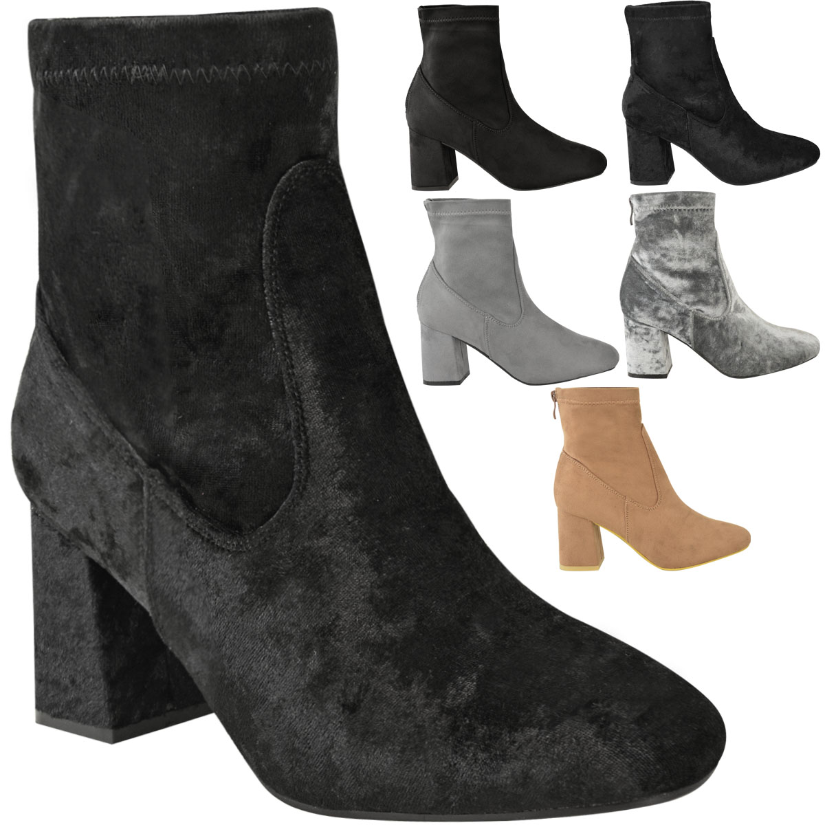 Womens Chunky Chelsea Block Low Heel Ankle Boots Velvet Casual Shoes Size