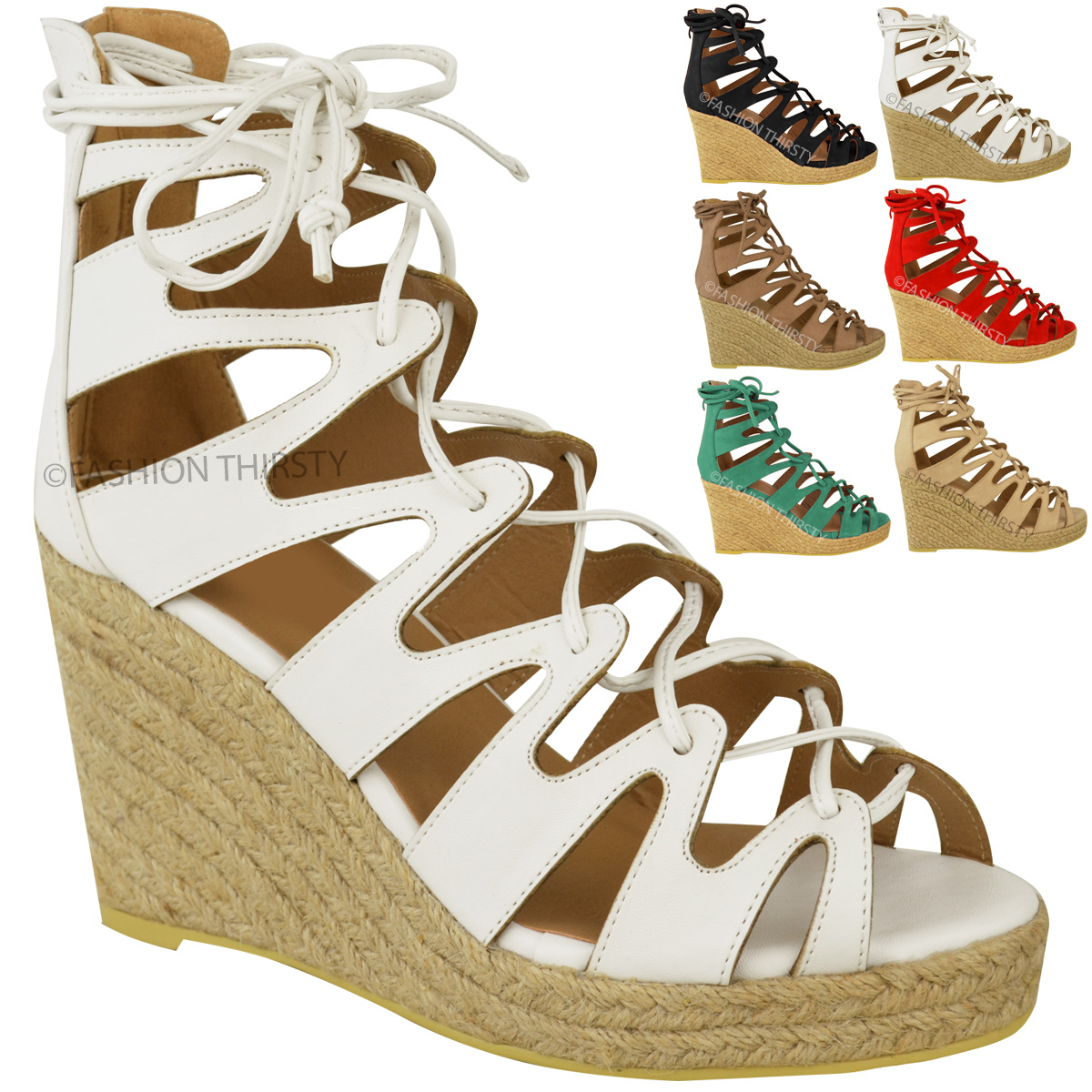 Perfect Details About Womens Gladiator High Heel Wedge Platform Shoes Lace Up