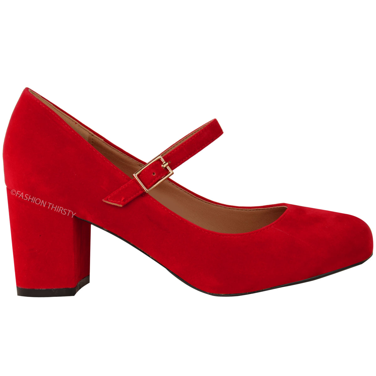 Womens Las Mid Block Heel Mary Jane Office
