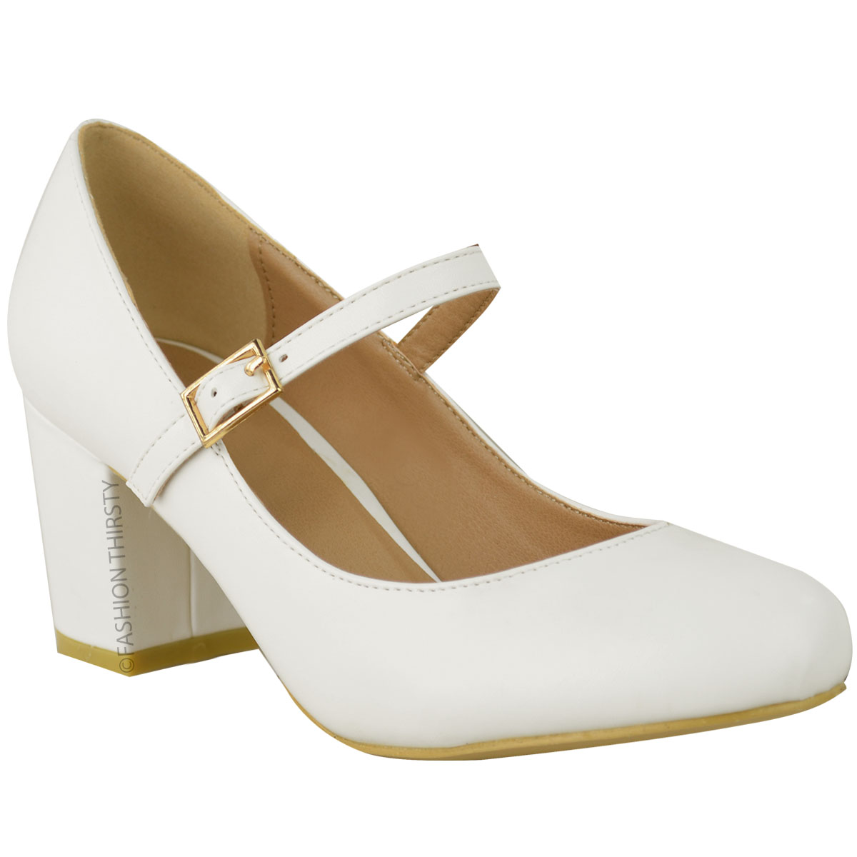 Mid Heel Mary Janes Shoes In White