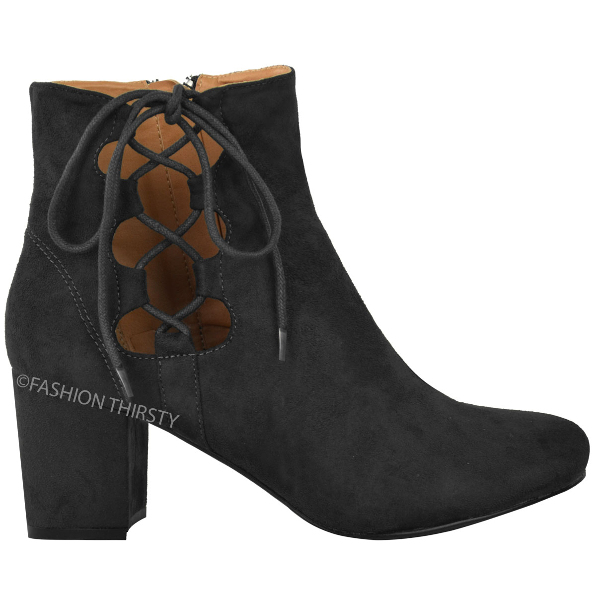 thumbnail 4 - WOMENS-LADIES-LOW-BLOCK-HEEL-CHELSEA-ANKLE-BOOTS-CUT-OUT-LACE-UP-SHOES-NEW-SIZE