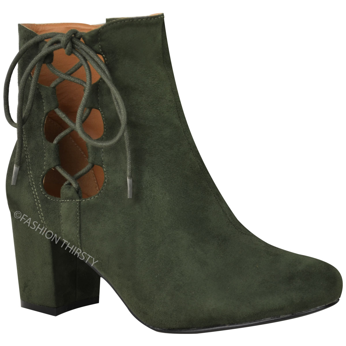 thumbnail 13 - WOMENS-LADIES-LOW-BLOCK-HEEL-CHELSEA-ANKLE-BOOTS-CUT-OUT-LACE-UP-SHOES-NEW-SIZE