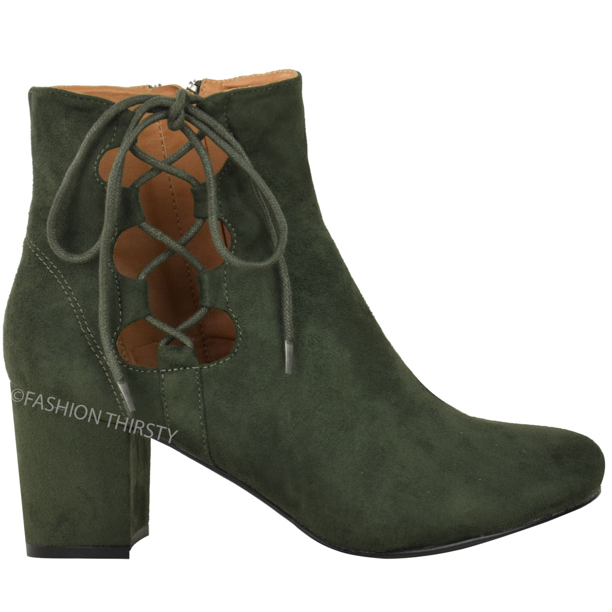 thumbnail 14 - WOMENS-LADIES-LOW-BLOCK-HEEL-CHELSEA-ANKLE-BOOTS-CUT-OUT-LACE-UP-SHOES-NEW-SIZE