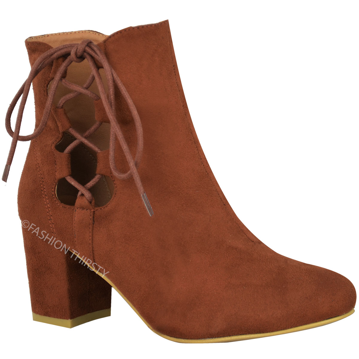 thumbnail 8 - WOMENS-LADIES-LOW-BLOCK-HEEL-CHELSEA-ANKLE-BOOTS-CUT-OUT-LACE-UP-SHOES-NEW-SIZE