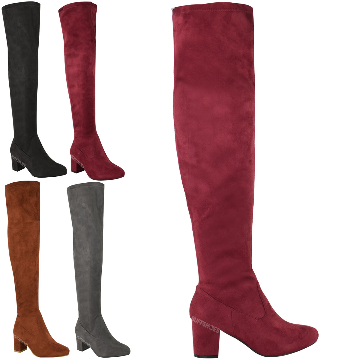 WOMENS LADIES OVER THE KNEE THIGH HIGH LOW BLOCK HEELS BOOTS WORK