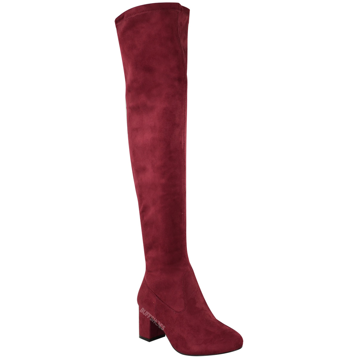 womens the knee thigh high low block heels