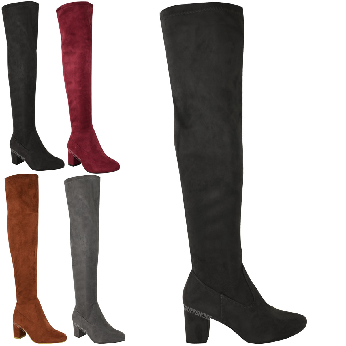 WOMENS LADIES OVER THE KNEE THIGH HIGH LOW BLOCK HEELS BOOTS WORK ...