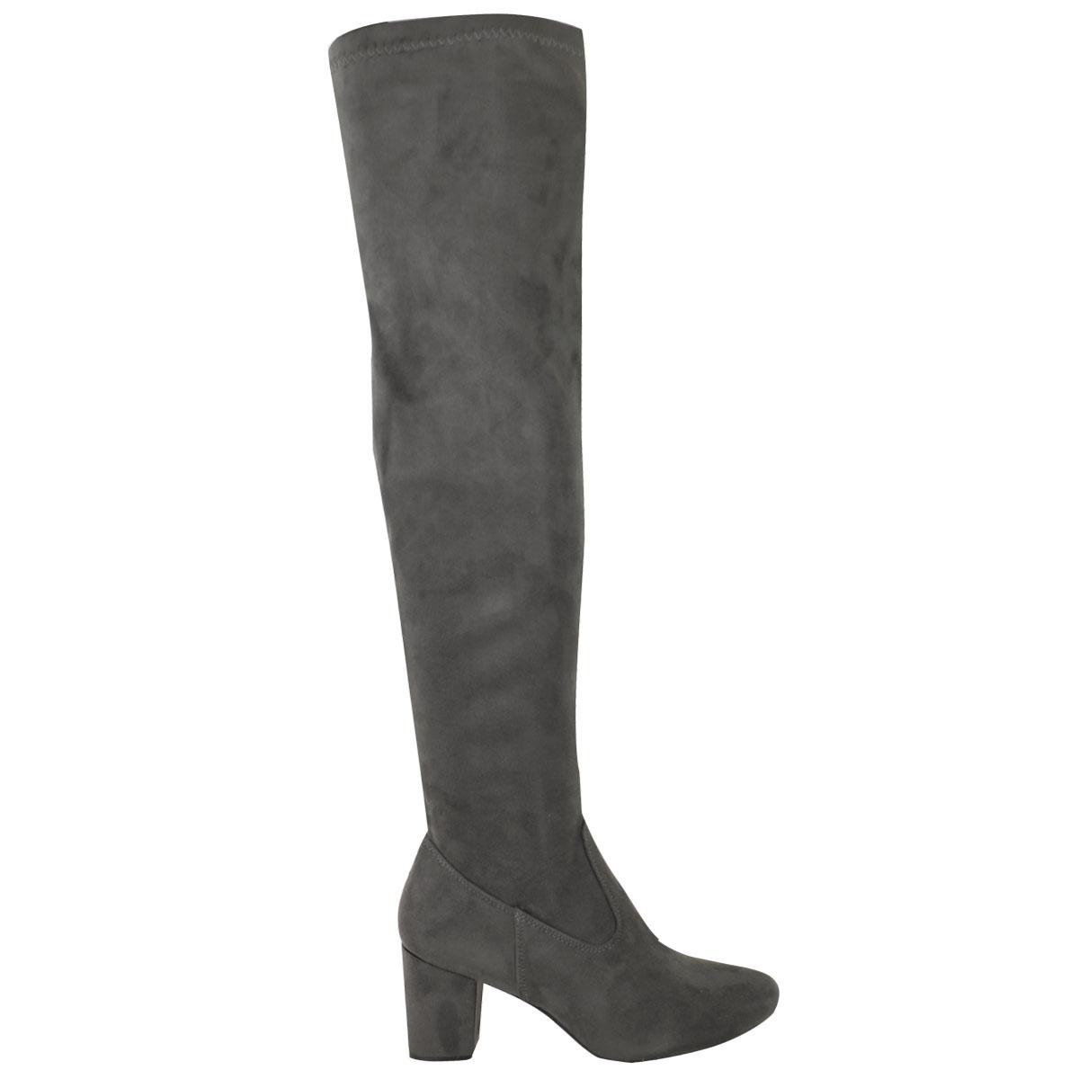 Womens Ladies Black Low Block Heel Over The Knee Thigh Boots Winter Size UK