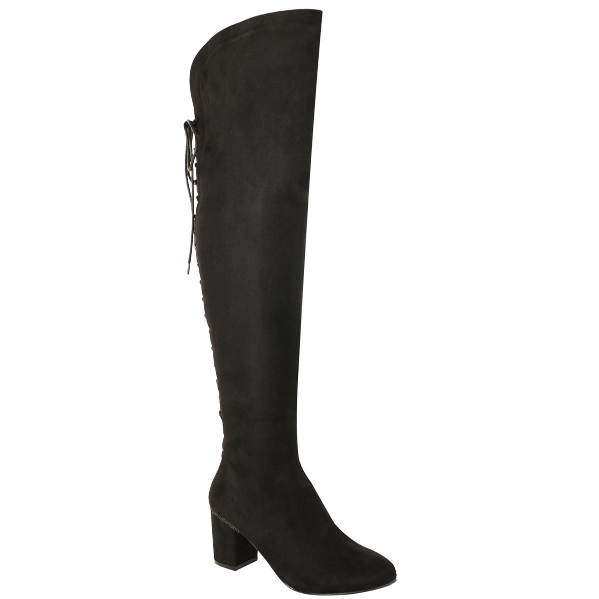 High lace up back sexy block mid low heel riding boots size ebay