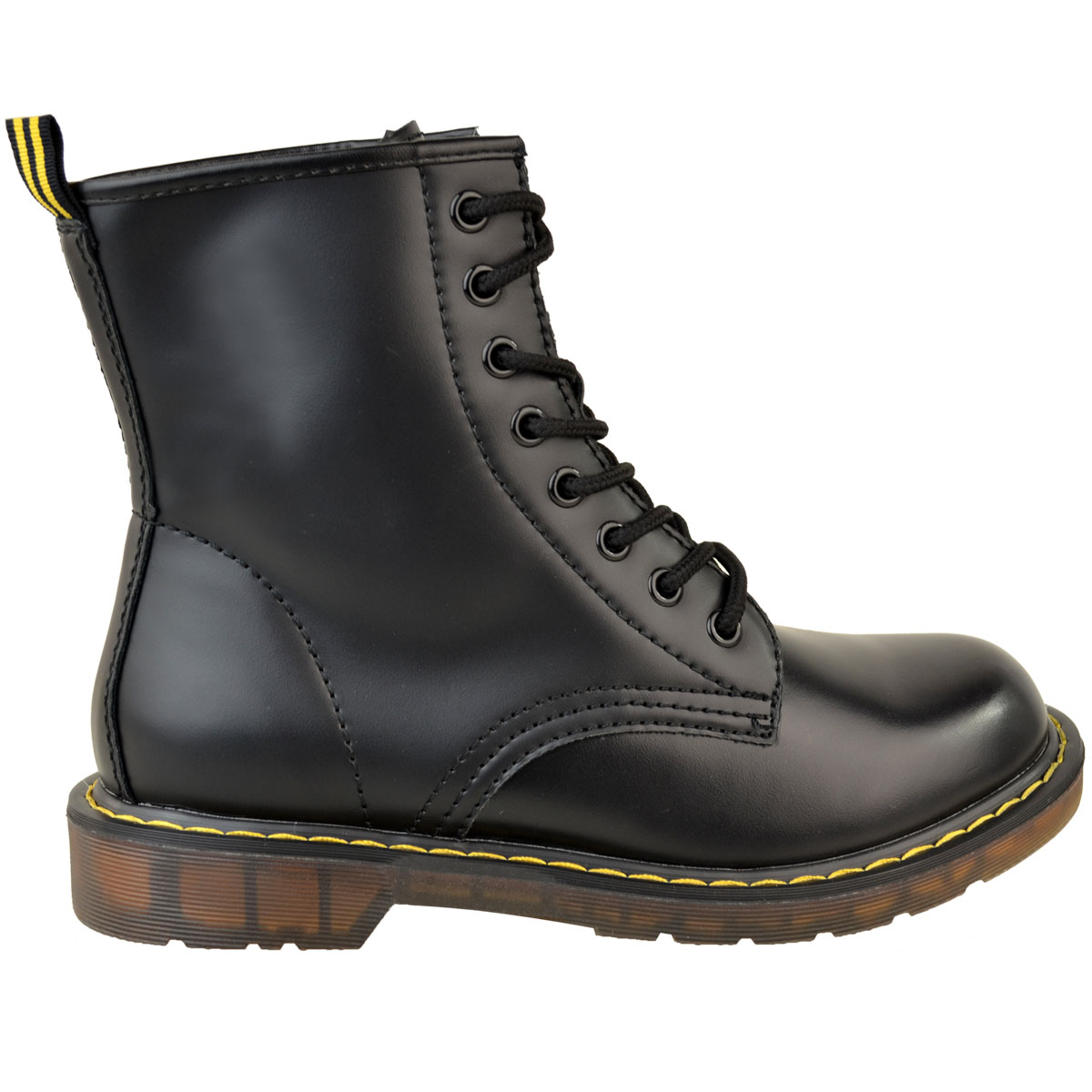Womens-Ladies-Doc-Ankle-Boots-Low-Flat-Heel-Lace-Up-Worker-Army-Black-Goth-Size thumbnail 4