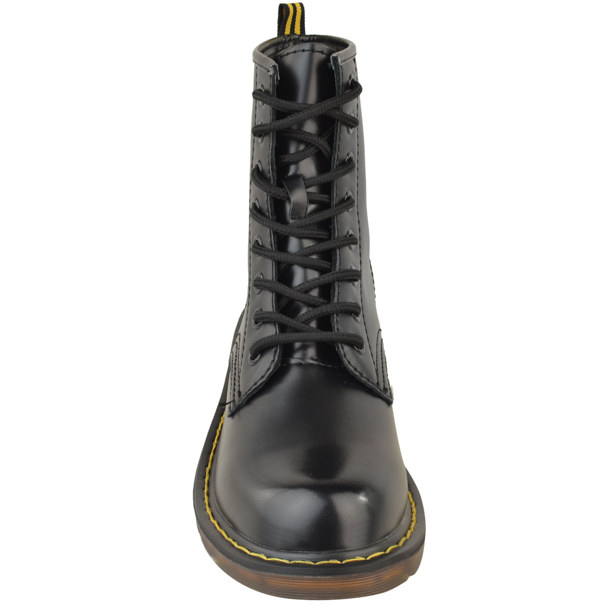 Womens-Ladies-Doc-Ankle-Boots-Low-Flat-Heel-Lace-Up-Worker-Army-Black-Goth-Size thumbnail 6