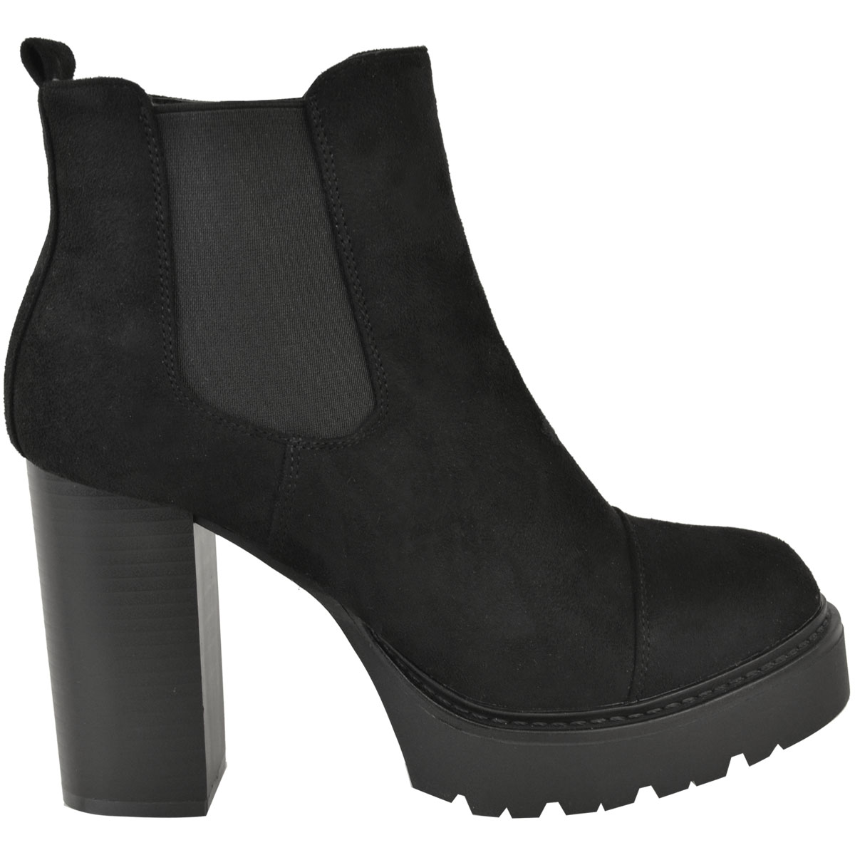 Womens Ladies Block High Heels Chelsea Ankle Boots Platforms Shoes Winter Size