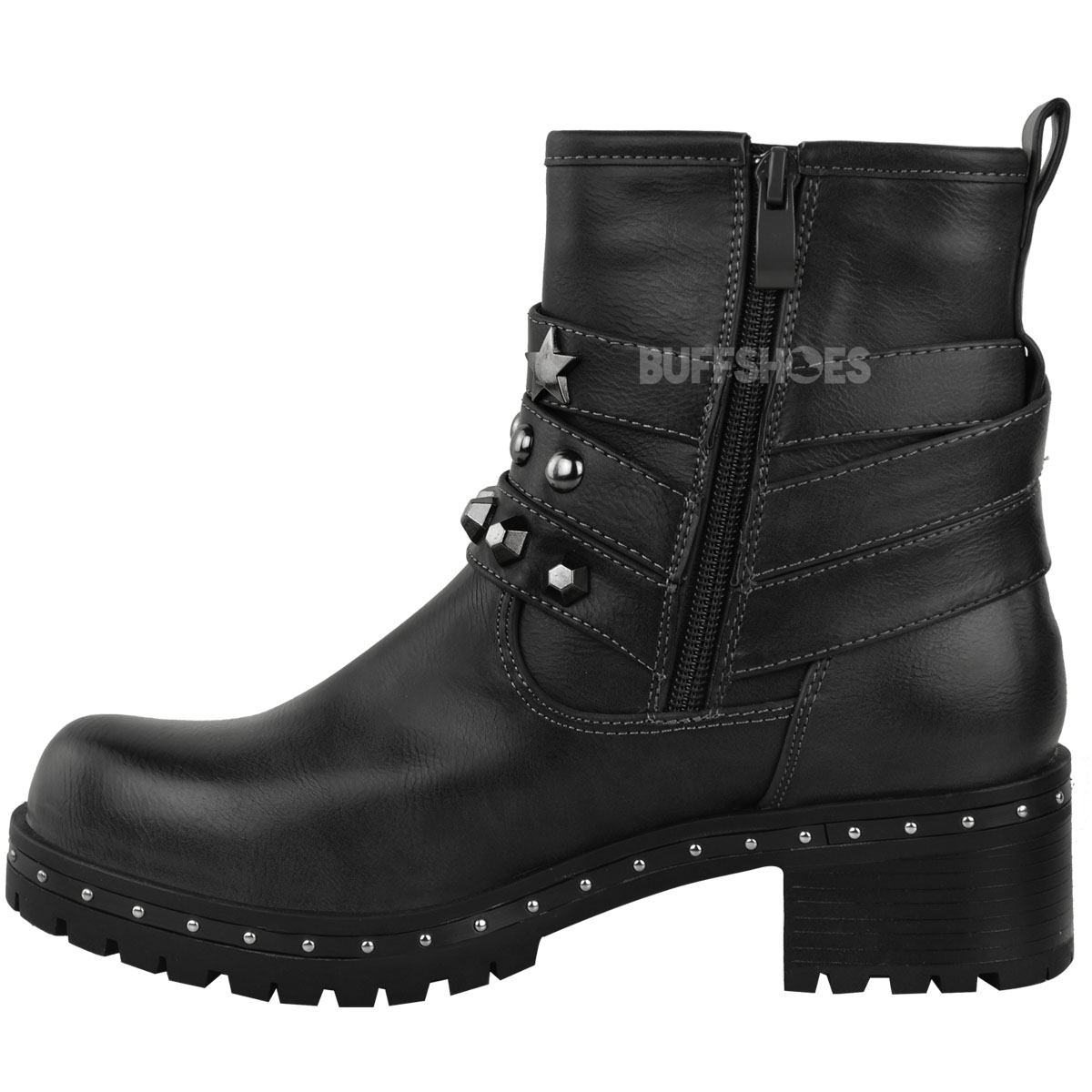 size biker grip stud womens ladies sole boots new shoes chunky strappy itm ankle