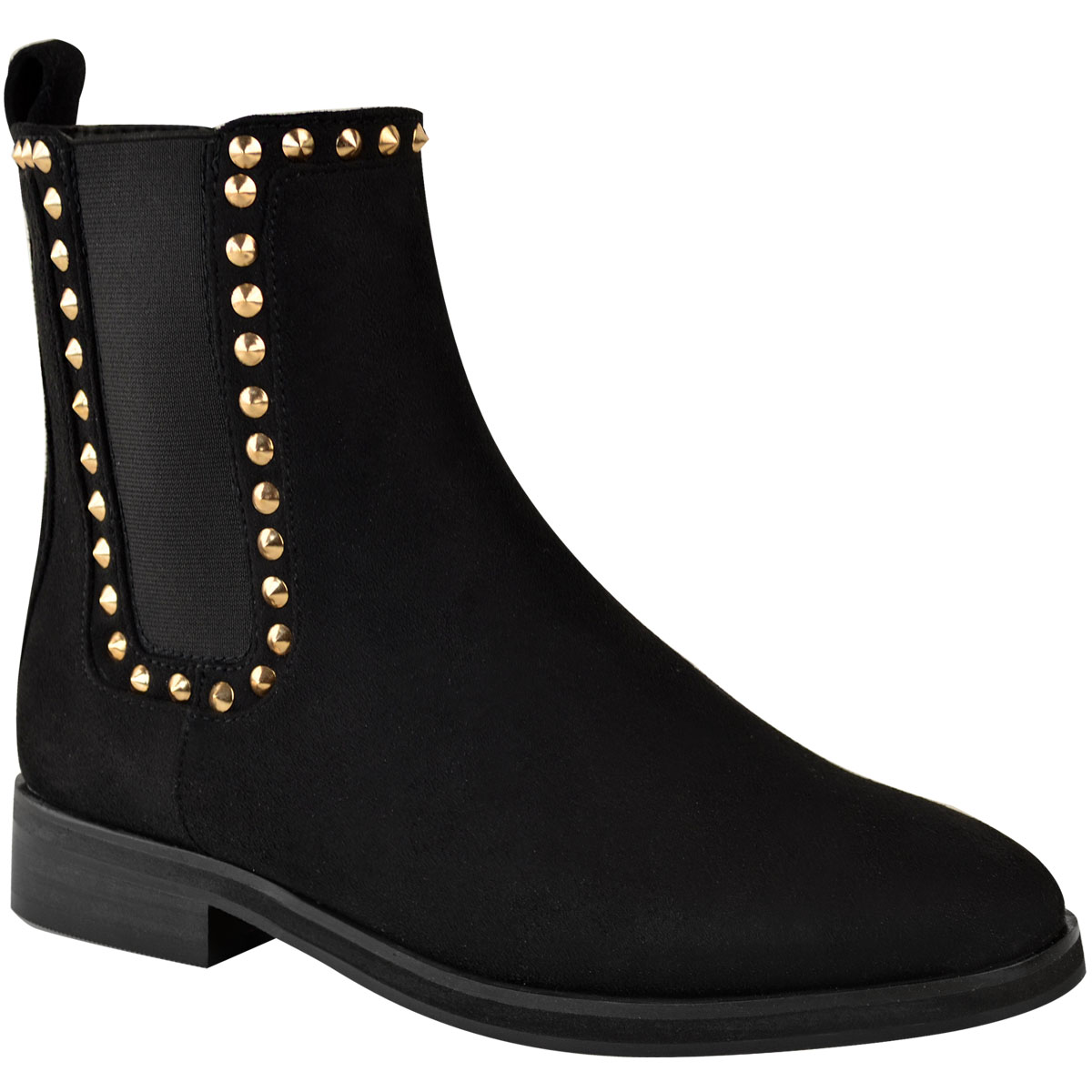 b3b1882640bb10 Ladies Ankle Low Heel Womens Chelsea Dealer Studded Shoes Boots UK ...