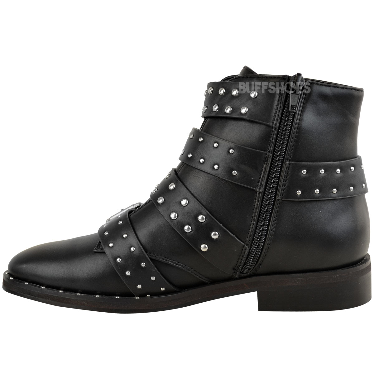 1776b07e310 Details about Womens Ladies Studded Flat Ankle Boots Strappy Biker Buckles  Amelia New Size