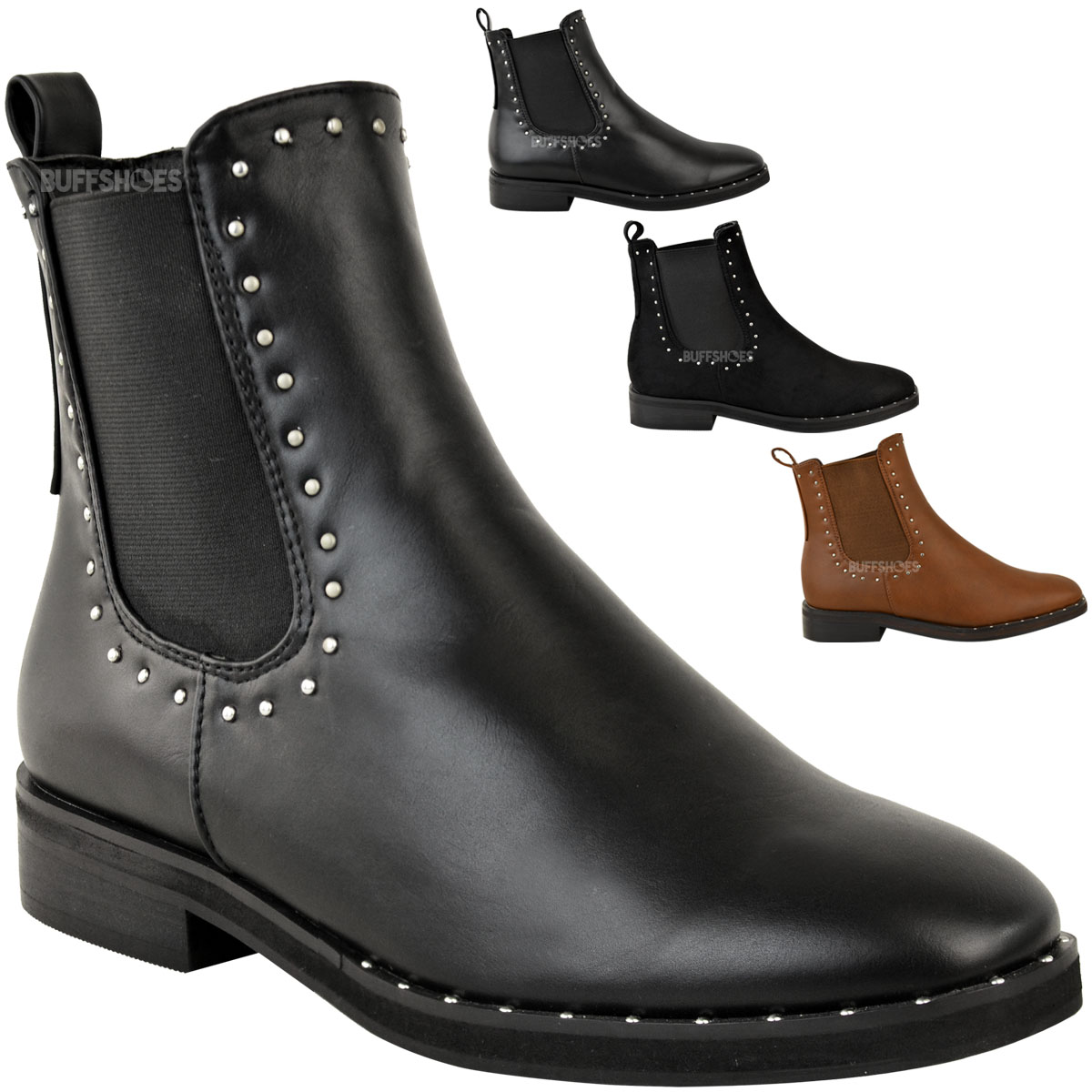 Womens Flat Studded Chelsea Ankle Boots Elasticated Shoes Size