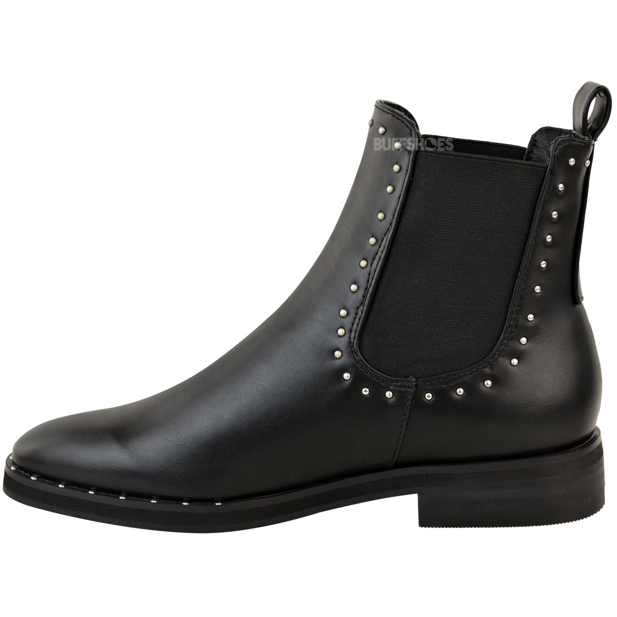 womens ladies flat studded chelsea ankle boots casual