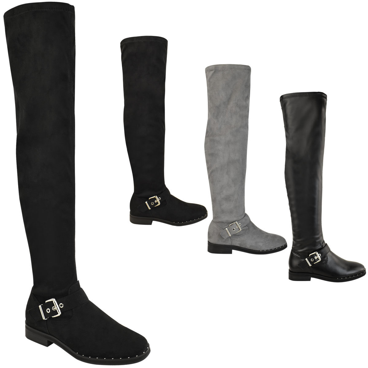 black flat over the knee thigh high boots womens stretch