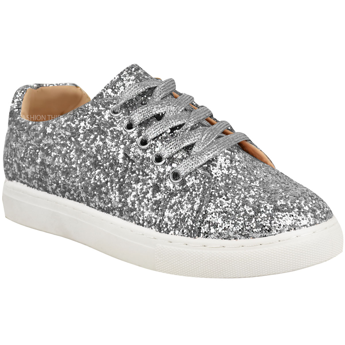 Womens Ladies Flat Lace Up Glitter Sparkly Trainers Sneakers Pumps Shoes Size | eBay