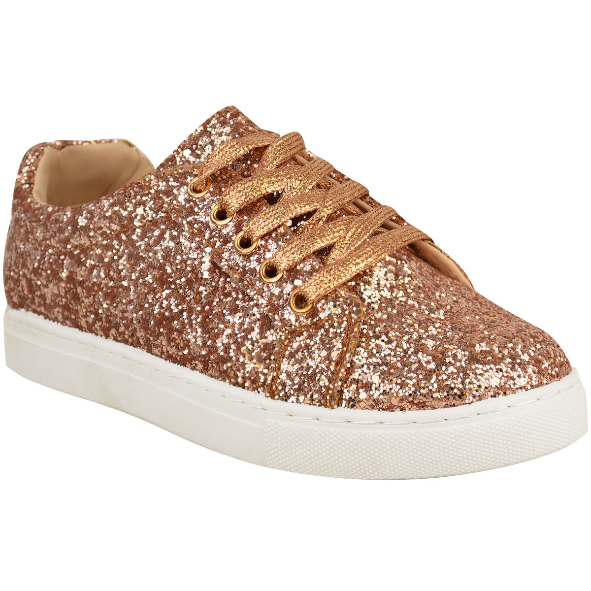 Womens Ladies Lace Up Glitter Sparkly Trainers Sneakers Gym Pumps ... 795376cdd3