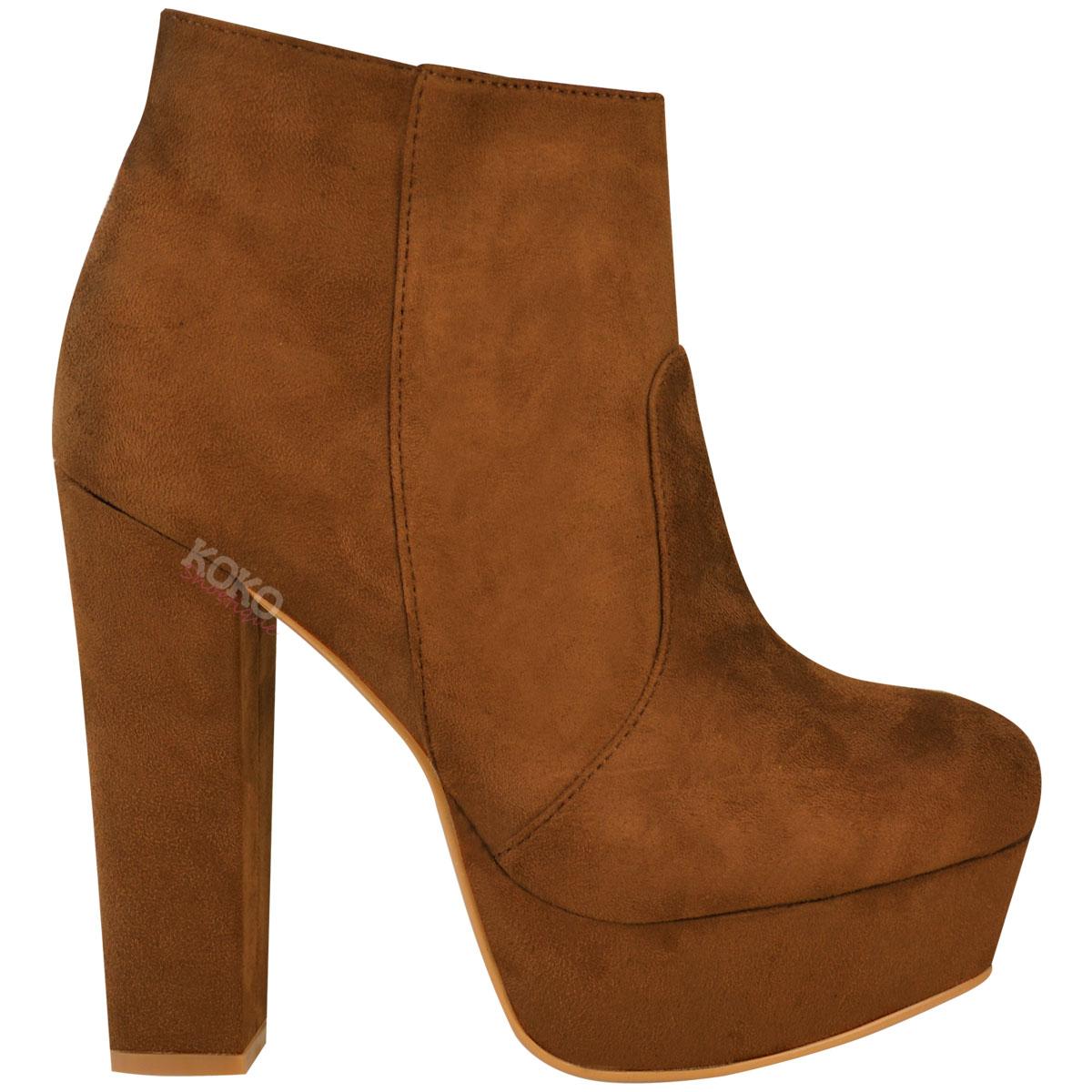 new womens plain block high heels platform ankle