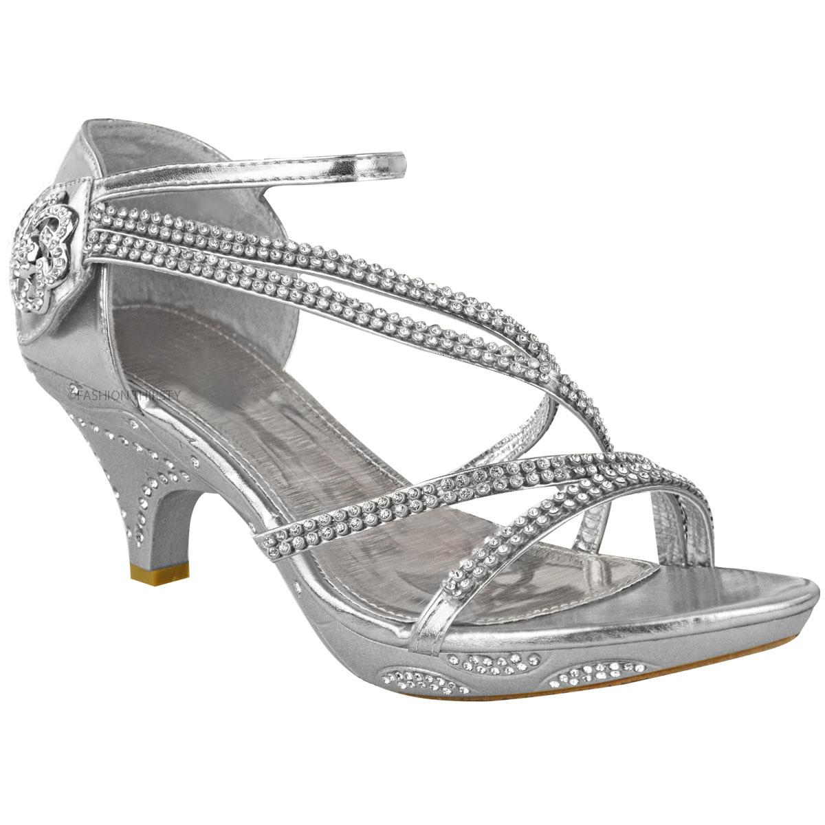 Womens Las Low Heel Diamante Bridal Wedding Sandals