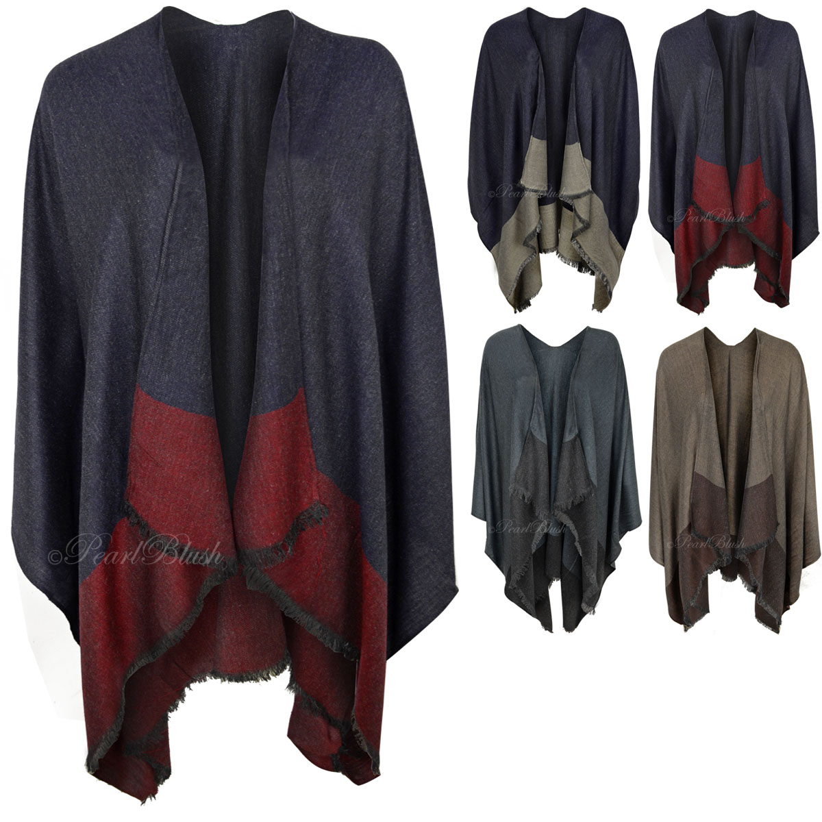 Womens Ladies Kimono Waterfall Cardigan Shrug Wrap Winter Warm ...