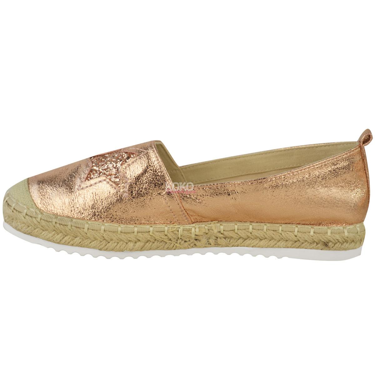 Womens Ladies Rose Gold Flat Espadrille Shoes Sandals ...
