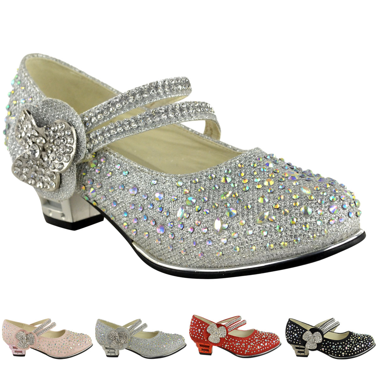 kids wedding shoes childrens low mid high heel diamante 5311