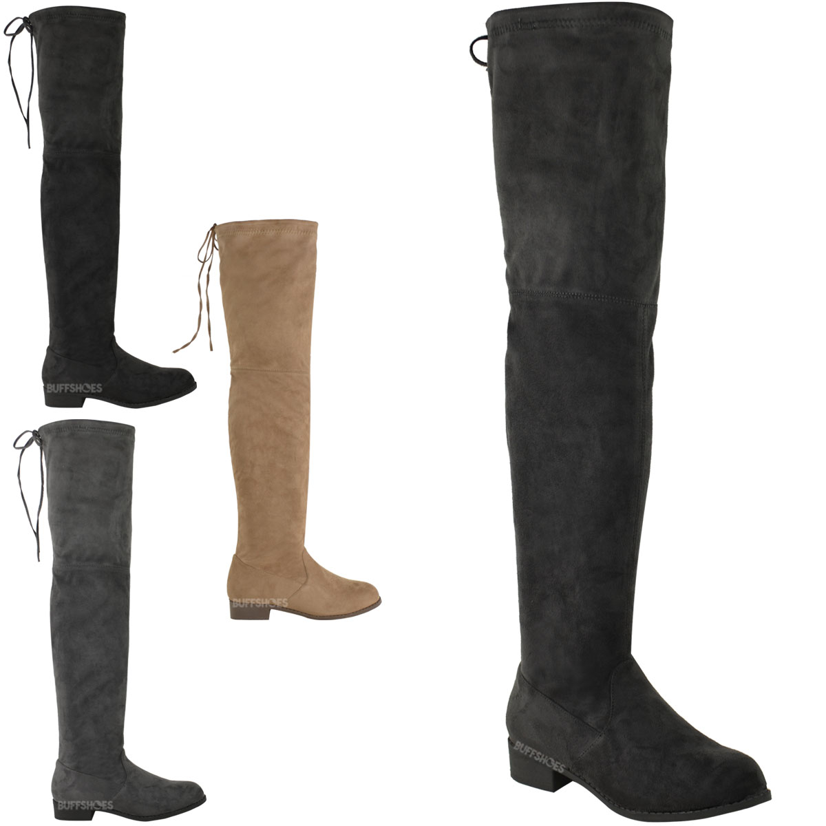 womens low heel thigh high the knee stretch