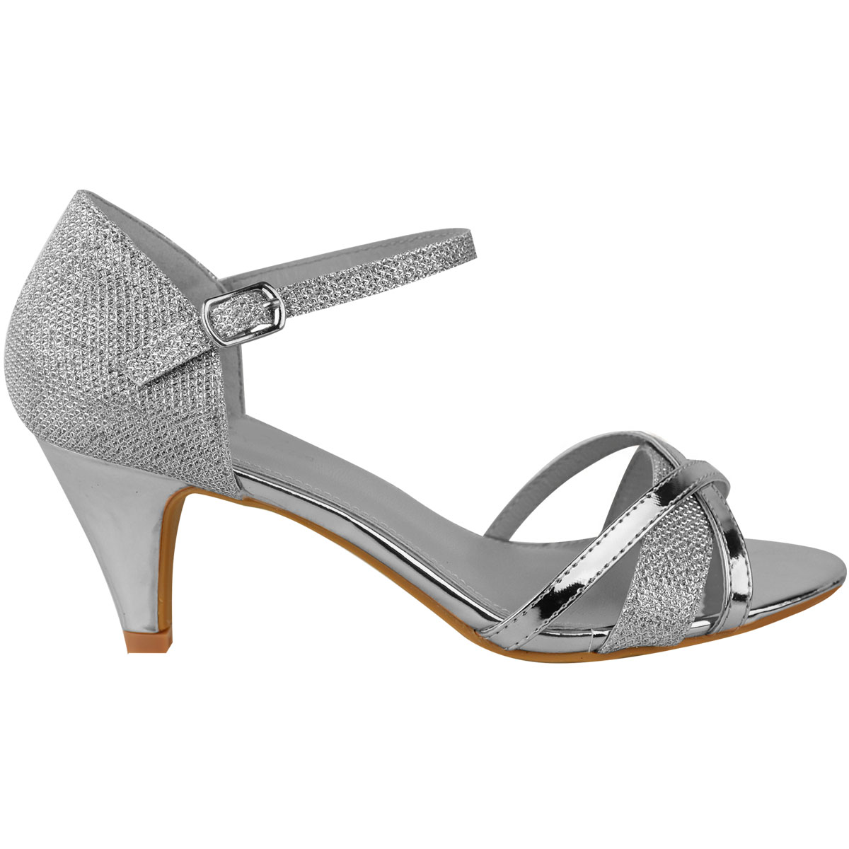 Womens Las Low Heel Wedding Bridal Silver Sandals