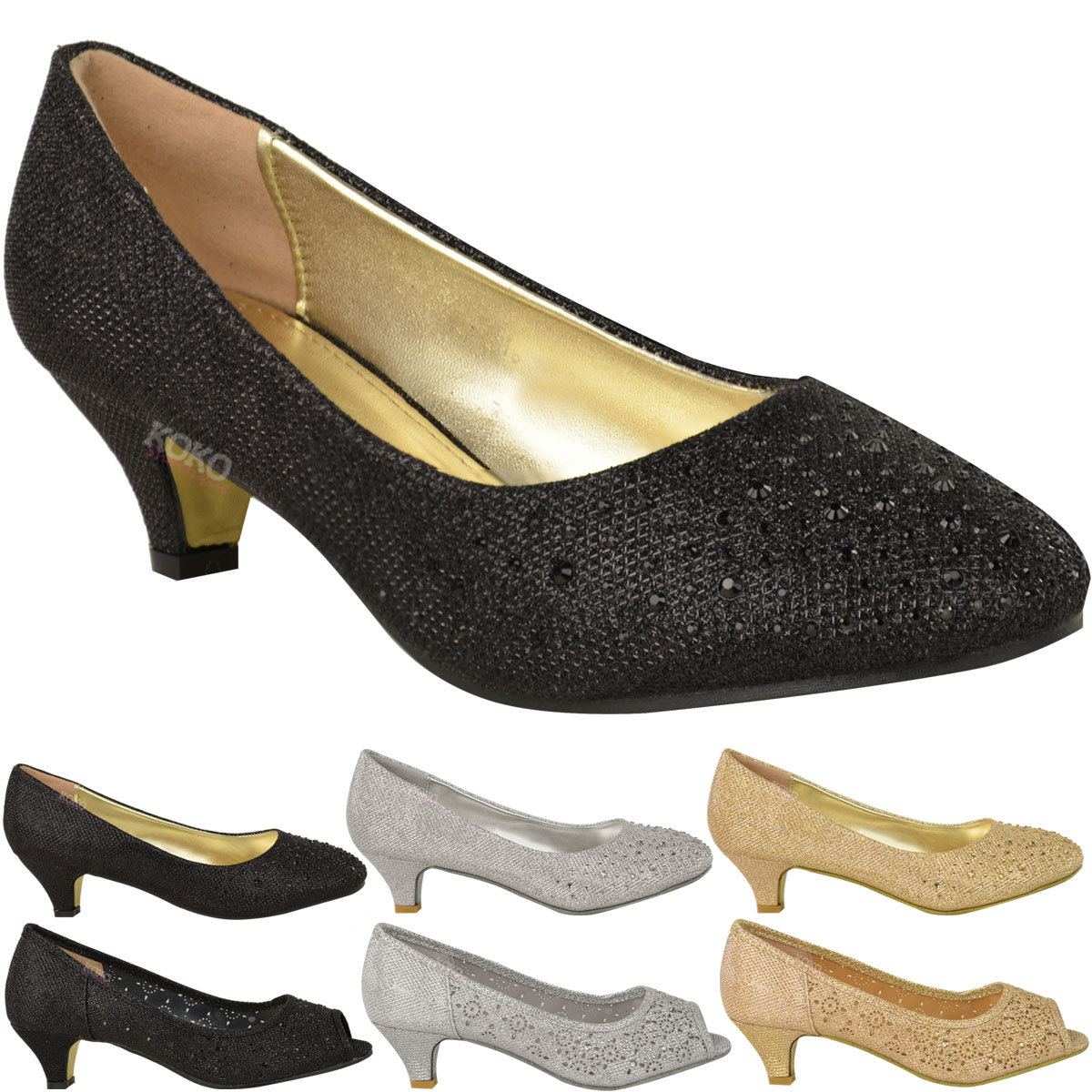 Kitten Heels Court Shoes Open Toe Wedding Diamante Party Size About This Product Picture 1 Of 6 2